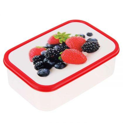 Коробка для еды прямоугольная 1,2л, Клубника, ежевика