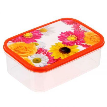 Коробка для еды прямоугольная 1,2л, Летние цветы