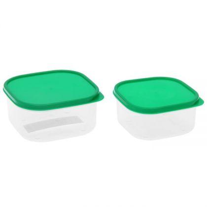 2 контейнера для продуктов квадратные 450мл и 700мл, зеленая крышка