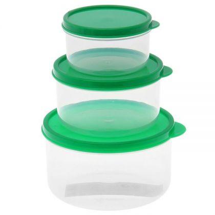 3 контейнера для продуктов круглые 150мл, 300м и 500мл, зеленая крышка