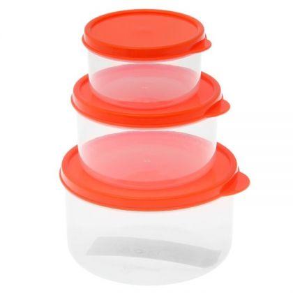 3 контейнера для продуктов круглые 150мл, 300м и 500мл, оранжевая крышка