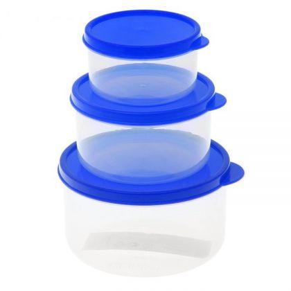 3 контейнера для продуктов круглые 150мл, 300м и 500мл, синяя крышка
