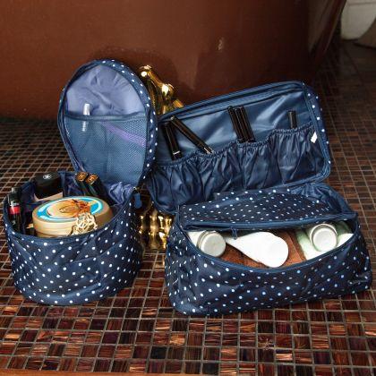 Комплект из 2х органайзеров круглый и косметичка Синий