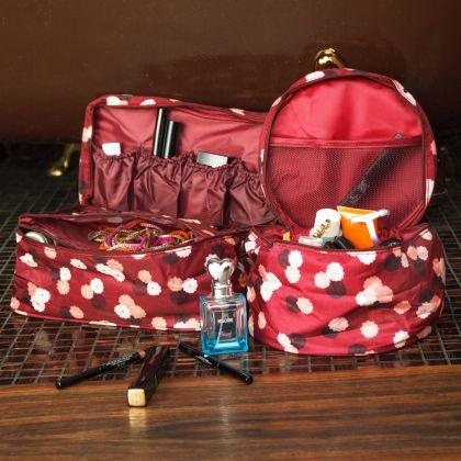 Комплект из 2х органайзеров круглый и косметичка Бордовый цветок