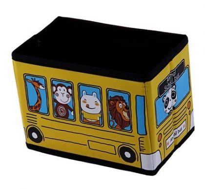 Коробка для хранения детская Автобус с животными, желтая