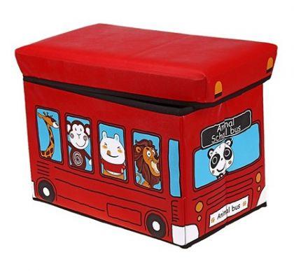 Коробка для хранения детская Автобус с животными, красная, большая