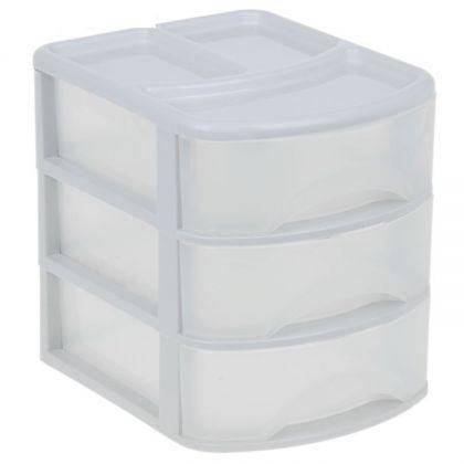 Органайзер для хранения на 3 выдвижных ящика, прозрачный