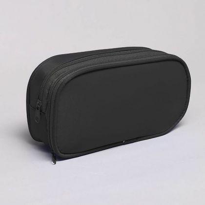 Косметичка с 2 отделами на молнии 18x5x9,5 см, черная