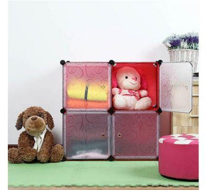 Шкафчик из 4 кубов для хранения, красный