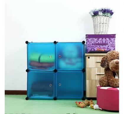 Шкафчик из 4 кубов для хранения, синий