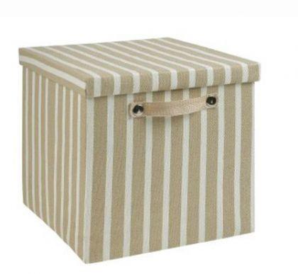 Ящик в полоску квадратный, бежевый