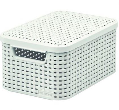 Ящик для хранения плетеный с крышкой Раттан 6л, разные цвета