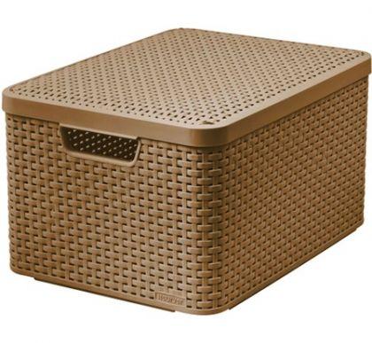 Ящик для хранения плетеный с крышкой Раттан 30л, разные цвета