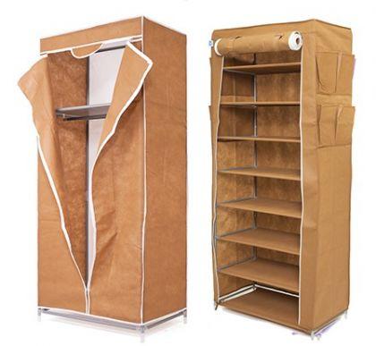 Комплект из шкафа для обуви и шкафа для одежды, коричневый