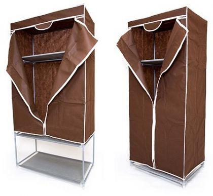 Комплект тканевых шкафов для одежды и обуви, шоколадный