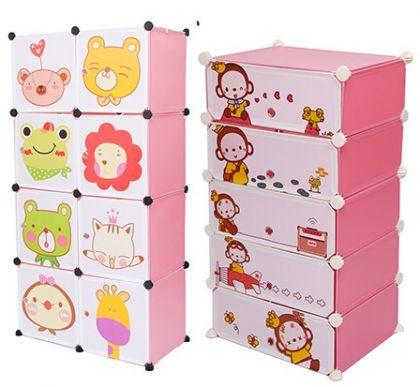 Комплект из 2х детских кубических шкафов, розовый