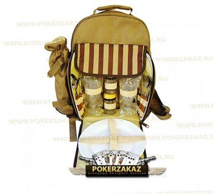 Набор для пикника, Рюкзак с холодильником на 2 персоны, коричневый(Брак уценка)