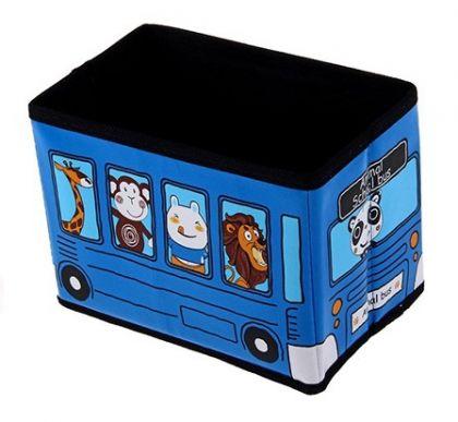 Коробка для хранения детская Автобус с животными, синяя
