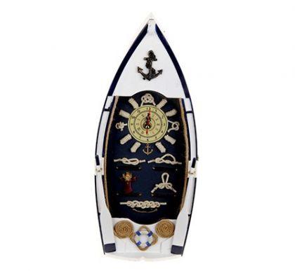 """Настенная ключница в виде лодки """"Морские узлы"""", белая"""