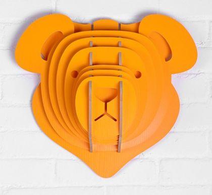 Настенный декор Голова Медведя, желтая