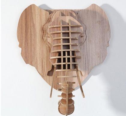 Настенный декор Голова Слона, светлое дерево