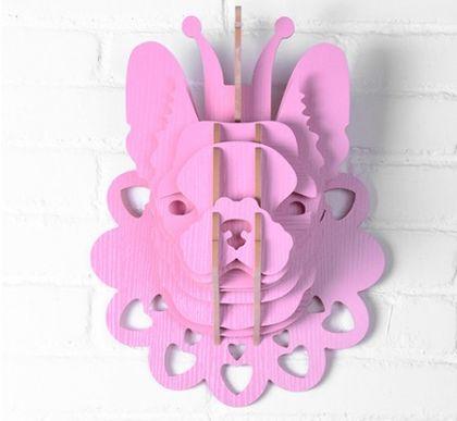 Настенный декор Голова Собаки, розовая