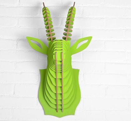 Настенный декор Голова Козла, зеленая