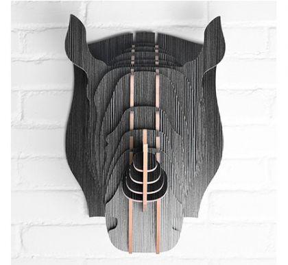 Настенный декор Голова Носорога, черное дерево