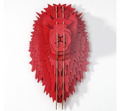 Настенный декор Голова Льва, красная