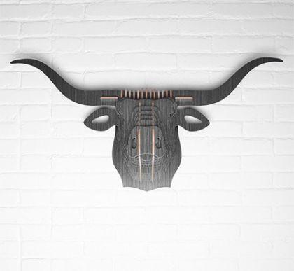 Настенный декор Голова Быка, черное дерево