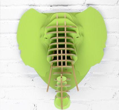 Настенный декор Голова Слона, зеленая